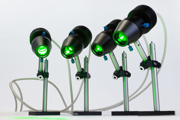Four MacroLED 530nm LED heads in support posts